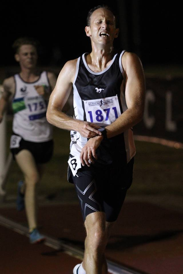 Russell Clowes running in the 2019 Box Hill Classic Men's 3000m 'F' Race.