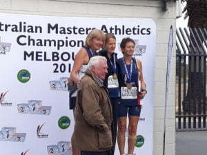 Helen Stanley on the podium for 2019 Australian Masters Athletics 5000m (Women 60-64) National Championships