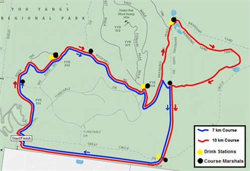 The Trailblazer You Yangs Trail Run Series 2016 - Race 1 Course Map