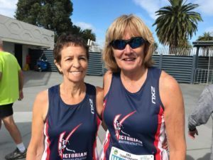 Helen Stanley and Heather Farley at 2019 Australian Masters Championships Day 1