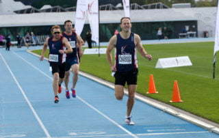 Russell Clowes winning the Men's 35-39 800m at the 2019 Australian Masters Athletics Track and Field Championships