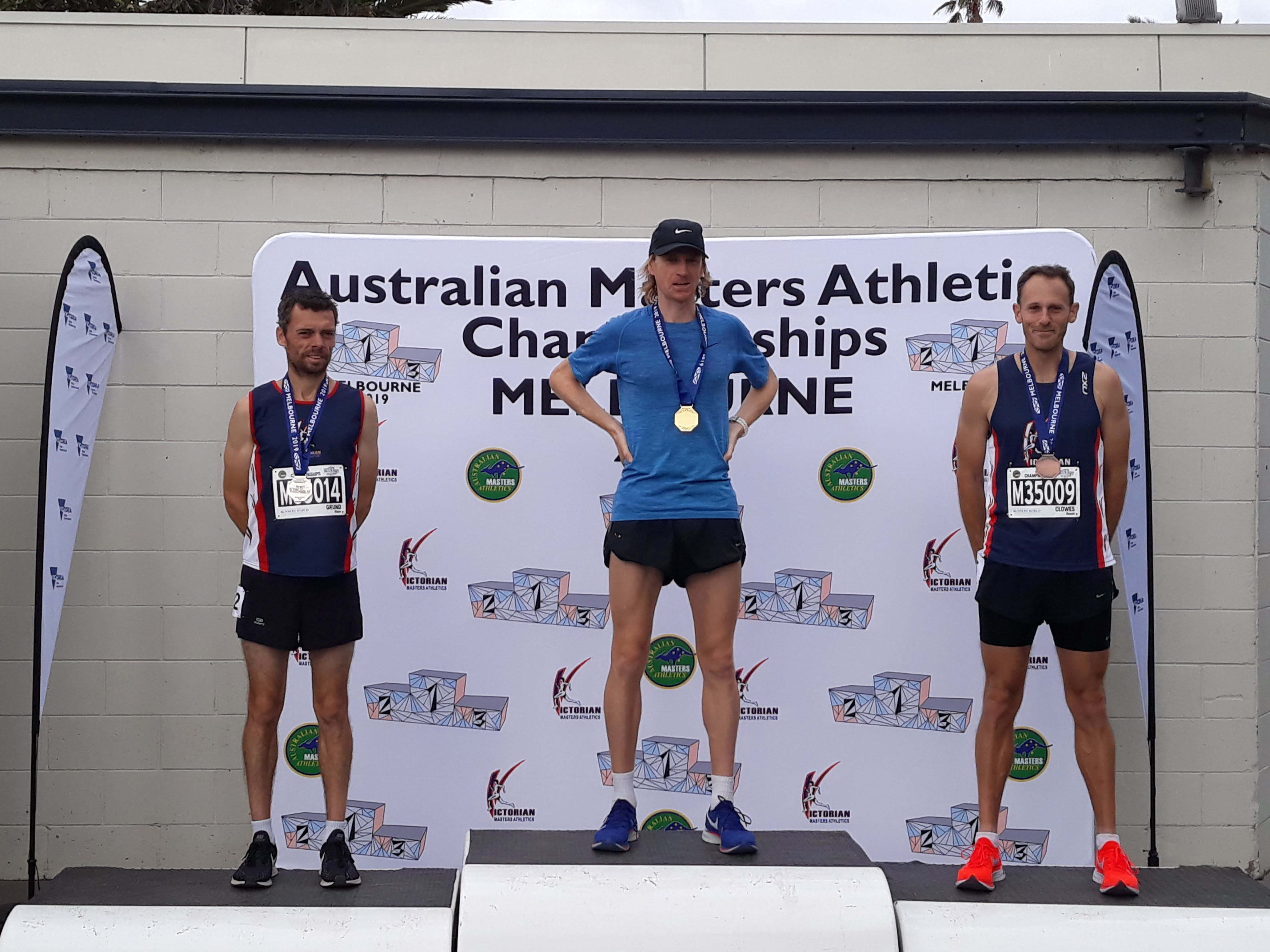 Shane Grund and Russell Clowes second and third in 2019 Australian Masters Athletics 5000m National Championships Men 35-39